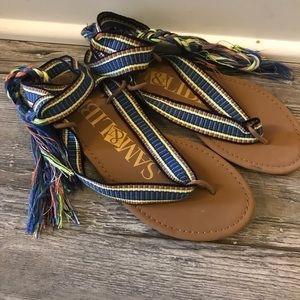 Never worn outside! Wrap flip flop sandals